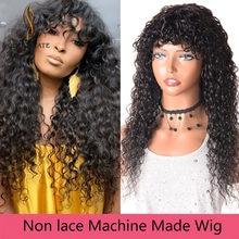 Barato encaracolado perucas de cabelo brasileiro com franja onda de água longa peruca de cabelo humano solto onda profunda peruca para mulher perruque cheveux crépu