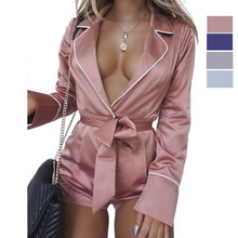 Sexy Bodysuits Long Sleeve Women Clubwear Shorts Playsuit Autumn Bodycon Party S