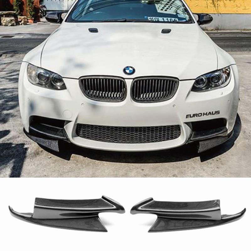 الجبهة حافة مصد السيارة الخطان اللوحات ل BMW 3 سلسلة E92 E90 E93 الحقيقي M3 سيدان كوبيه للتحويل 2007-2013 الكربون الألياف/FRP