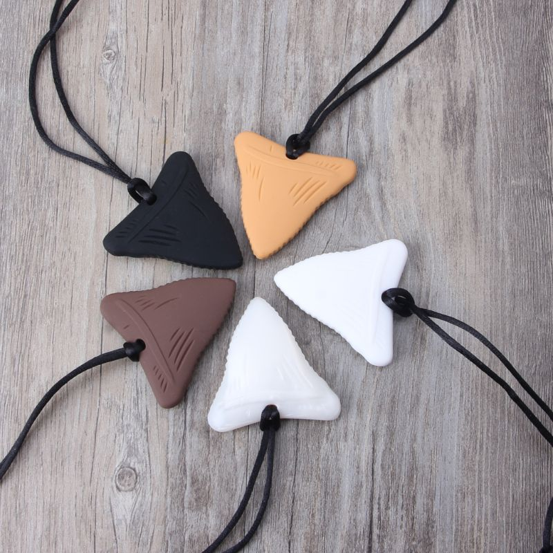 Shark Tooth Silicone Teething Necklace Baby Gender Neutral Chew Necklace Sensory Teether Pendant BPA Free Beads