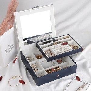 Image 3 - 2019 Nieuwe Mode Lederen Sieraden Doos Gift Box Voor Sieraden Verpakking Display Grote Prachtige Make Up Case Luxe Sieraden Organizer