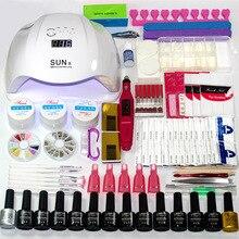 Маникюрный набор с сушилкой и электрофрезой, базовый набор принадлежностей для маникюра, 12/10 цветов гель лака для дизайна ногтей, верхнее покрытие, светодиодная УФ лампа 24 Вт/48 Вт/54 Вт