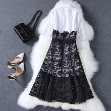 2020 Fashion OL White Long Style Shirt Knee Length Lace Crochet Knee Length Skirt Women 2 Pcs Set Spring Party Office Work Suit(China)