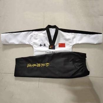 Color de calidad superior adultos hombres mujeres niños Taekwondo uniforme con bordado Taekwondo traje dobok para ropa de entrenamiento T155
