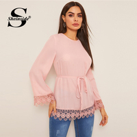 Sheinside Elegant Pink Guipure Lace Hem Blouse Women 2019 Autumn Lace Up Longline Blouses Ladies Solid Minimalist Trim Top