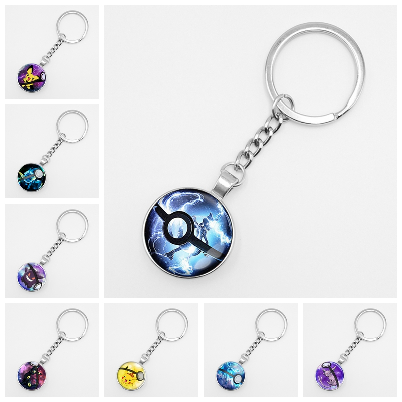 Hot! Retro Mini Squirtle Eevee Vulpix Simple Anime Pokemon Go Key Ring Pikachu Glass Keychain Pocket Monster Keyring Pendant