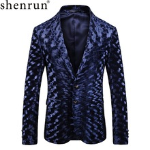Shenrun Mens Autumn Winter Blazer High Quality Blue Fashion Pattern Suit Jacket Groom Singer Business Party Prom Stage Costume