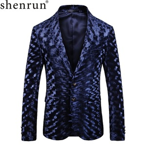 Image 1 - Shenrun Mens Autumn Winter Blazer High Quality Blue Fashion Pattern Suit Jacket Groom Singer Business Party Prom Stage Costume