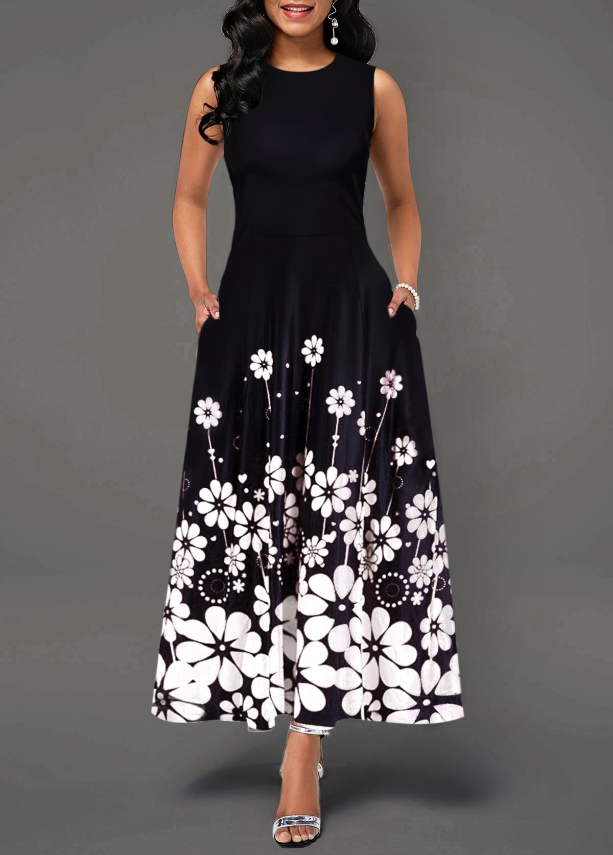Элегантное женское длинное платье макси с цветочным принтом большого размера, вечернее пляжное платье, Летнее Длинное платье без рукавов с цветочным принтом, костюм - Цвет: Черный