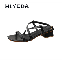 MIYEDA Ladies Shoes and Sandals Summer Cool New Design Clip Toe Cross Tied Female Shoe Square Heel Office Lady Sandal