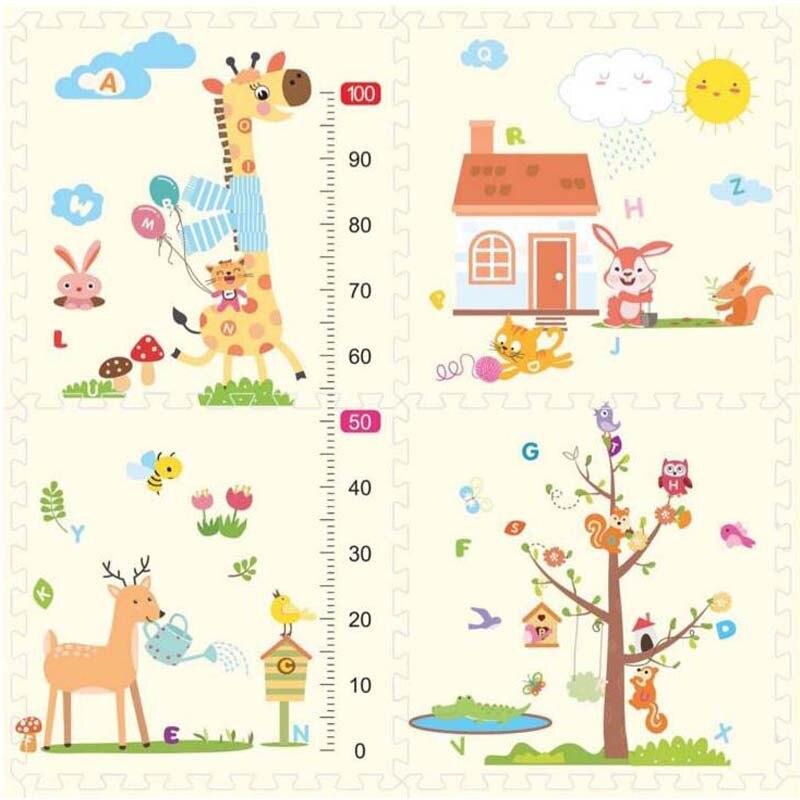 Baby Crawling Mat Thick Kindergarten Puzzle Stitching Floor Mat Children Eva Environmental Foam Mat Cartoon 60*60*1.0cm
