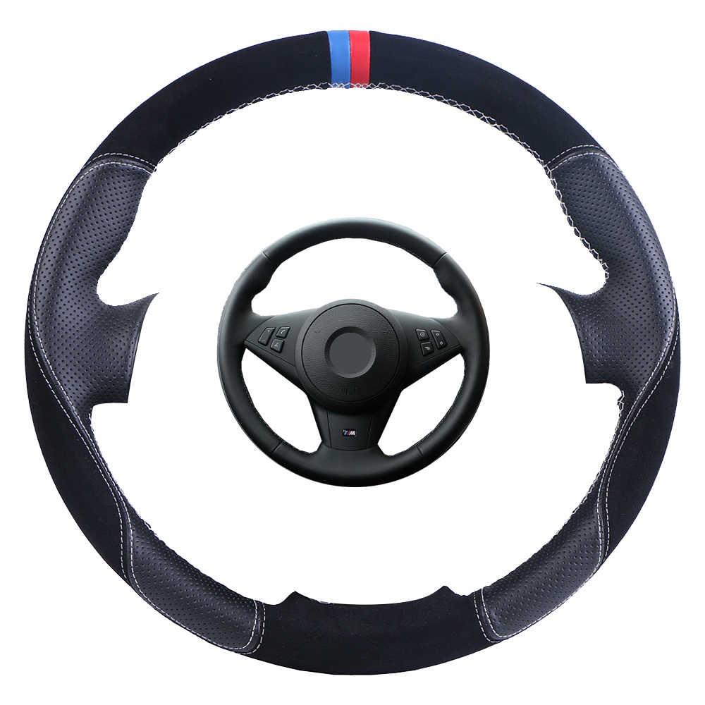 Penutup Kemudi Mobil Diy Custom Made Kemudi Wrap untuk BMW E60 E63 E64 M5 2005 2007 2008 M6 2007