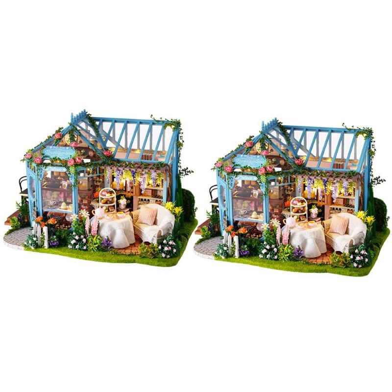 1 Set Dollhouse Furniture DIY Wooden Miniature Model Dust Cover Doll House Furniture Kit Music LED Toy 2020 Christmas Gifts Toys
