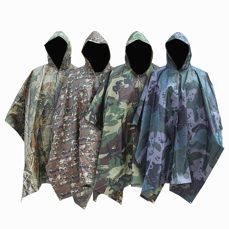 Multi Function Poncho Outdoor Tools PVC Waterproof Rain Coat Camping Mat Sun Shelter Hiking Poncho One Size Sports Clothing Suit