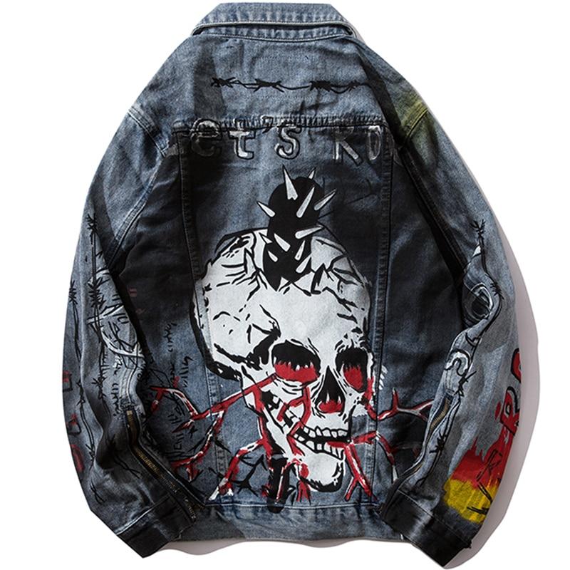 Hip Hop Jeans Graffiti Skull Print Men Jackets Sleeve Zippers Denim Streetwear Punk Rock Jean Jacket Overcoats Hipster Outwear