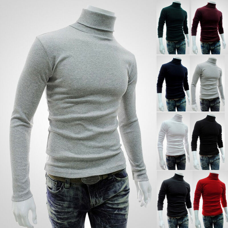 Fashion Men Turtleneck Sweater Spring Autumn Warm Mock Neck Basic Plain T-shirt Blouse Pullover Long Sleeve Casual Tops Sweaters
