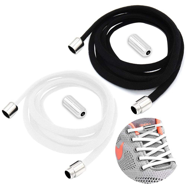 Round Shoe Laces Elastic No Tie Shoelaces Metal Lock Quick Safety Lazy Laces Suitable For Leisure Sneakers Off White Shoe Lace