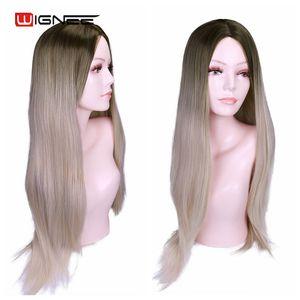 Image 3 - Wignee ロングストレート髪の中部合成かつらオンブルベビー灰ブロンド/ピンク/レッド/ブラウン/ブルーナチュラル毛女性かつら