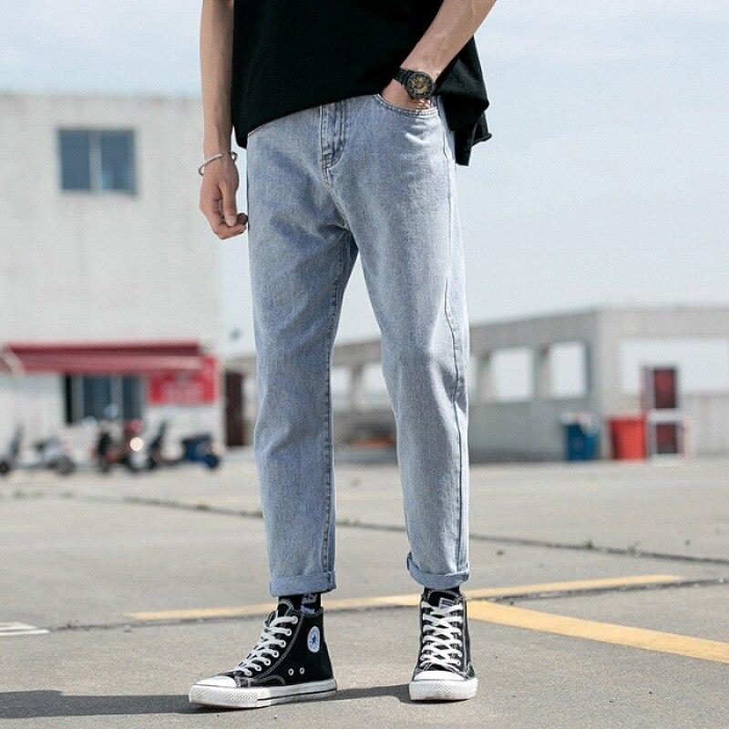 Jeans Men's Loose Straight Dad Popular Brand Trend Pants BOY'S Pendant Sense Wide-Leg Capri With Holes Summer Thin Section