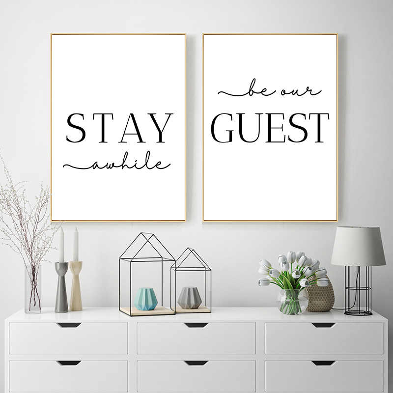 Stay Awhile Wall Art Picture Simple Quotes Poster Black White Print Minimalist Canvas Painting Modern Living Room Decoration
