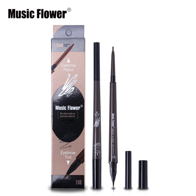 Music Flower Brand Cosmetic Eyes Makeup Matte Natural Double Head Eyebrow Pencil +Eyebrows Tint Liquid Waterpoof Long-lasting 1