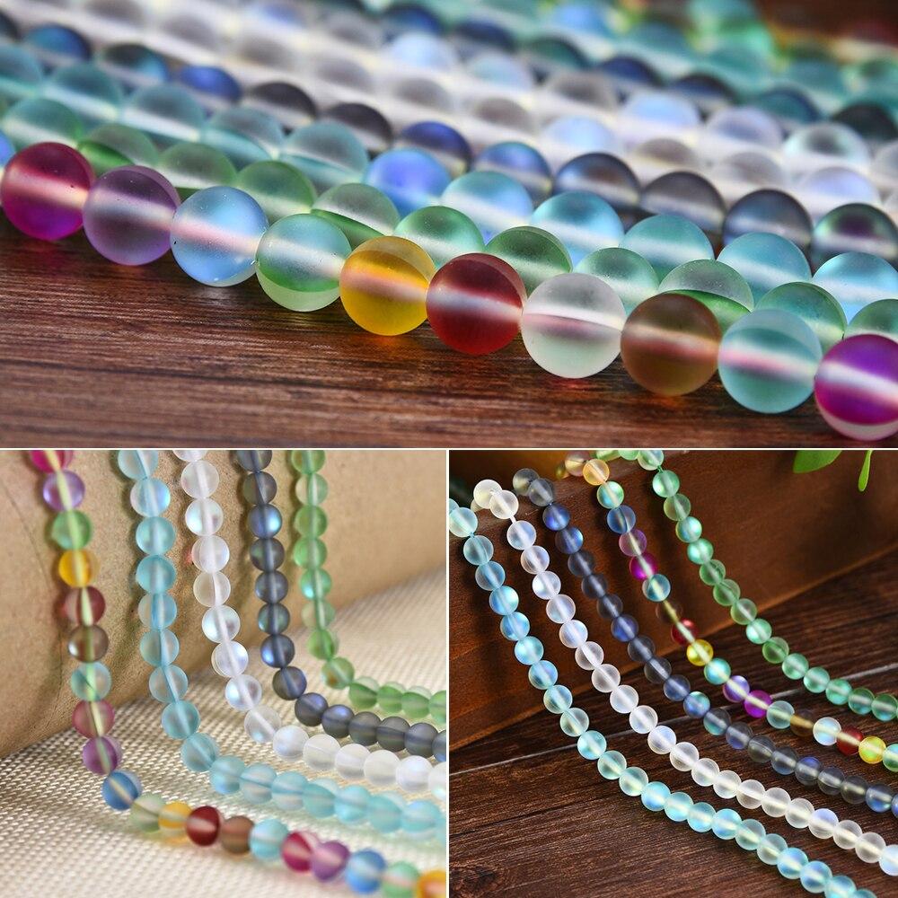 Mystic Aura Quartz Gemstone Loose Beads Quartz Matte DIY Bracelets-2019