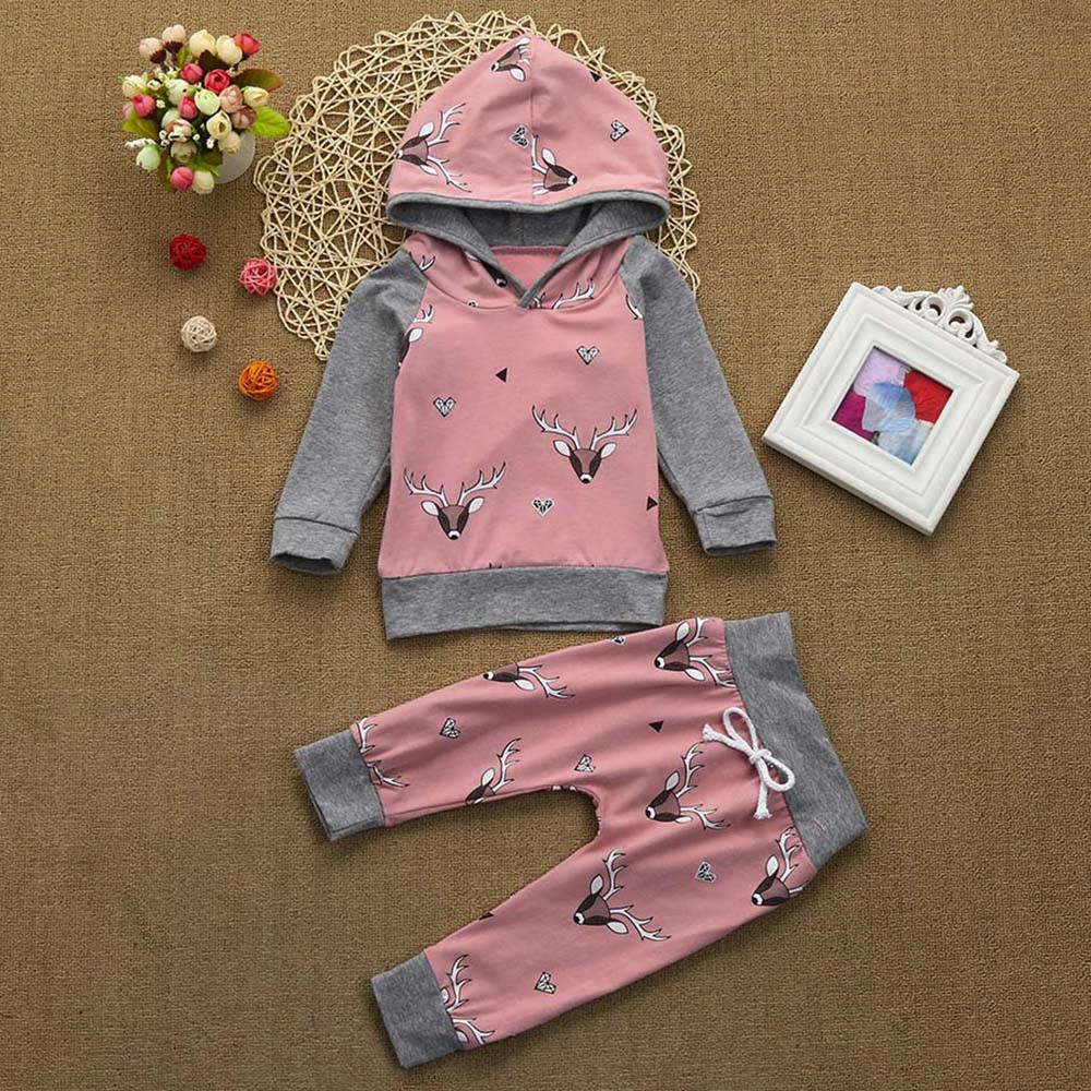 2pcs Toddler Kids Baby Boys Tracksuit Hooded Sweatshirt Tops+Pants Clothes Set