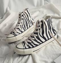 Ins sapatos de lona das mulheres de alta qualidade padrão zebra 2021 novo estilo sapatos casuais das mulheres moda confortável calçados femininos