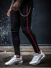 Джинсы Мужчины Мода 2021 года +Slim Fit Super Skinny Jeans For Men Street Wear Hio Hop Ankle Tight Cut Close to Body Big Belt Accessor
