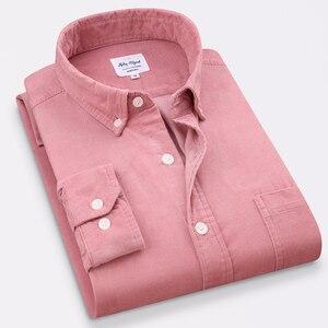 Image 5 - ฤดูใบไม้ผลิผู้ชายCorduroyเสื้อ 100% Cottonยาวแขนเสื้อBottomingเสื้อSlimไวน์แดงคุณภาพสูง 4XL