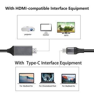 Image 4 - 1.8M סוג C כדי HDMI תואם כבלי USB 3.1 כדי HDMI כבל זכר לזכר עבור Samsung סוג C כדי HDMI תואם AV טלוויזיה מתאם