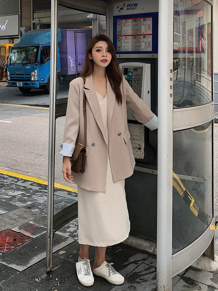 Korean Casual Ladies Blazer Stylish Solid Khaki Loose Suit Jacket Vintage Veste Blazer Office Women Blazer Spring Autumn MM60NXZ