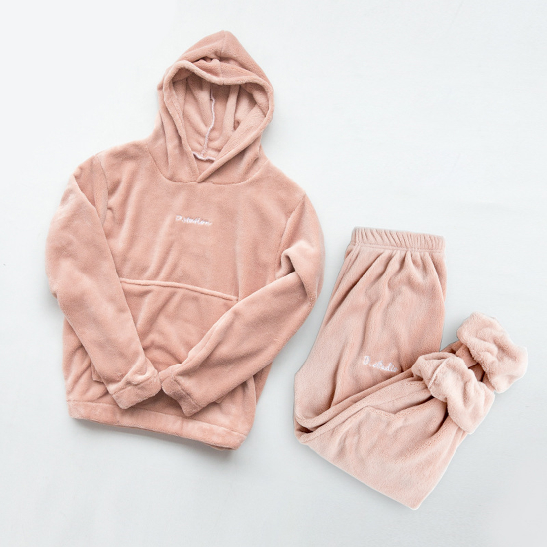 Jodimitty Autumn Winter Flannel Pajama Set Women Fleece Pajamas Sleepwear Homewear Thick Warm Coral Velvet Female Nightgown Suit