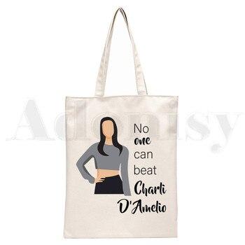 Ice Coffee Splatter Charli DAmelio Ulzzang Print Reusable Shopping Women Canvas Tote Bags Eco Shopper Shoulder Bags 16