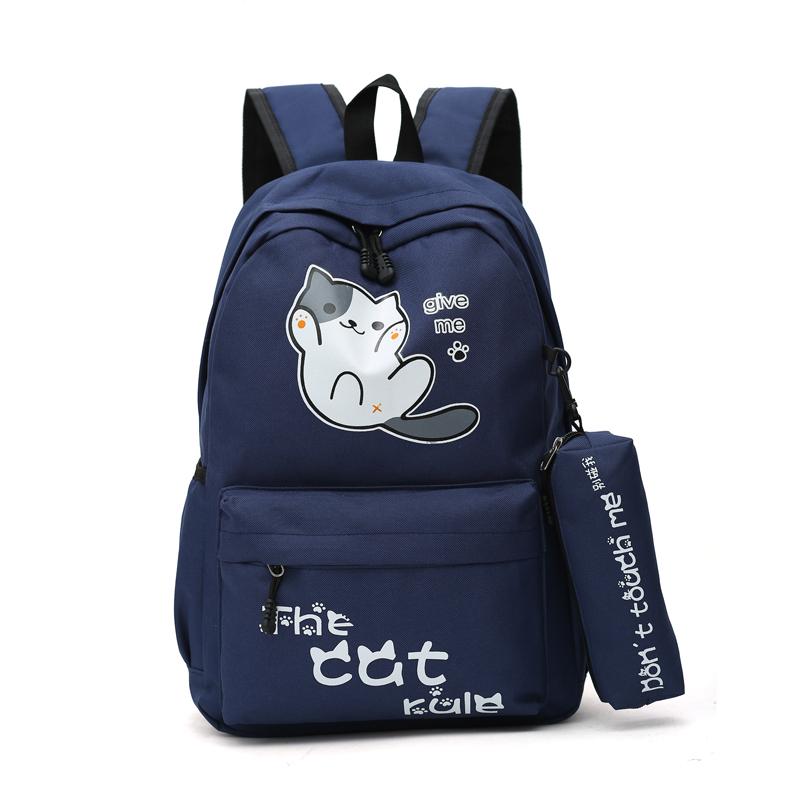 School Backpack For Teenage Boy Girl canvas Luminous Cartoon travel School Bag For Teenagers Student Cute Cat Backpack to School