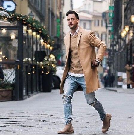 NEW Men Long Trench Coat Men Fashion Elegant Solid Lapel Collar Long Sleeve Loose Overcoat Jacket Long Trench Coat