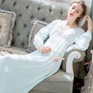 Image 3 - 우아한 블랙 Sleepdress 가을 잠옷 랜턴 슬리브 V 넥 보우 타이 긴 잠옷 나이트 가운 코튼 Nightdress Negligee T152