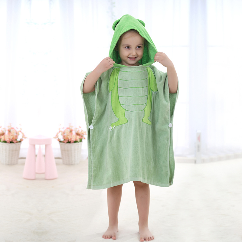 Michley CHILDREN'S Cloak Bath Towel Pure Cotton Cartoon Bathrobe INS Cotton Hooded Baby Wearable Beach Towel Mantle