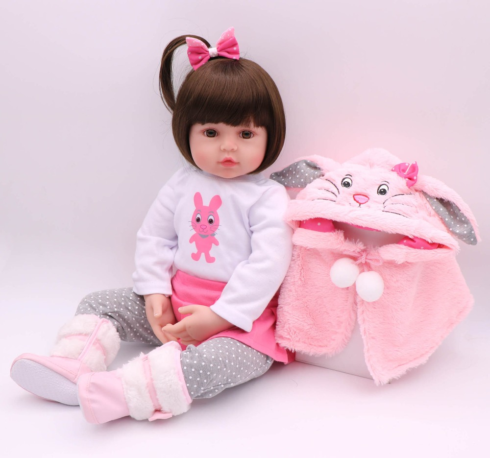 48CM Baby Doll Reborn Baby Doll Handmade Silicone Adorable Reborn Toddler Bonecas Girl Kid Lol Menina De Silicone Doll Surprice