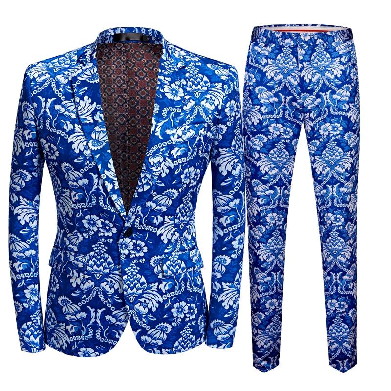 US Size Men Business Casual Slim Suit Sets Fashion Blue Printed Tuxedo Wedding Formal Dress Blazer Stage Performances Suit