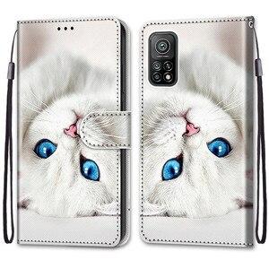 Image 2 - Coque animaux Cool pour Xiaomi Mi 10T Pro, étui en cuir à rabat pour Xiaomi Mi10T 10Pro 10 Lite 5G, étui portefeuille Lion ours loup chats chiens