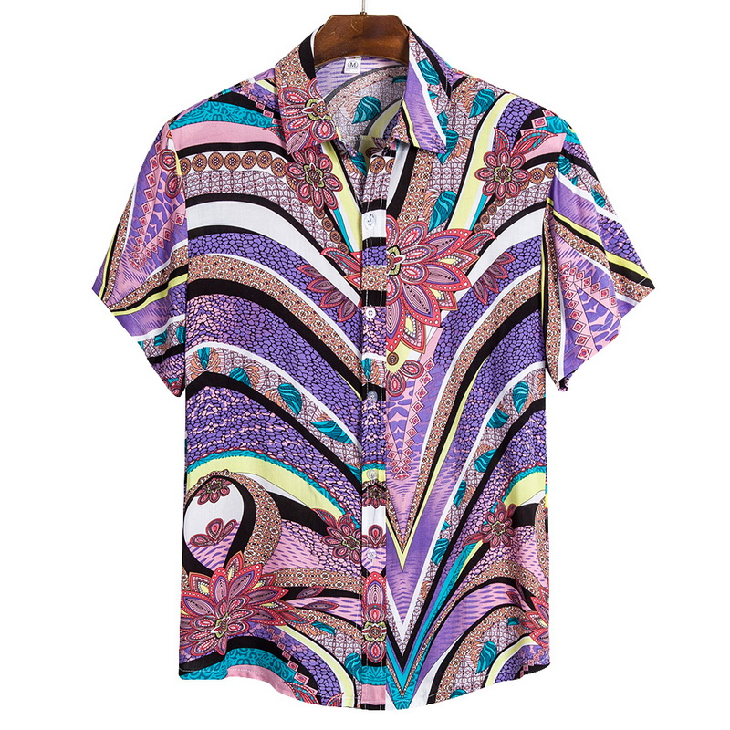 2021 New Arrival Men's Shirts Men Hawaiian Camicias Casual One Button Wild Shirts Printed Short-sleeve Blouses Tops 3