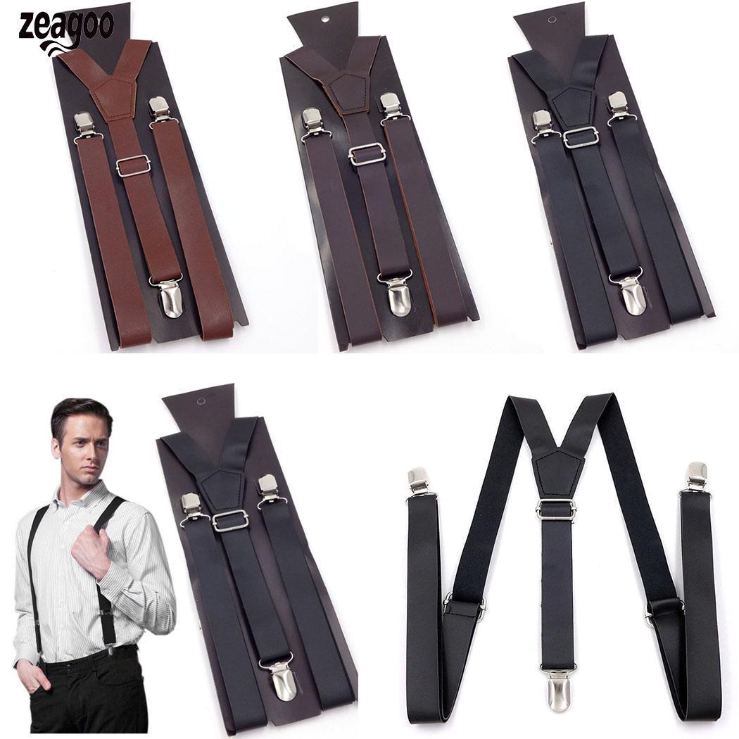 Men Casual Pants Back Belt Adjustable Y-shape Suspenders 2.5cm/0.98inch Shape, Four Seasons 100cm/39.37inch