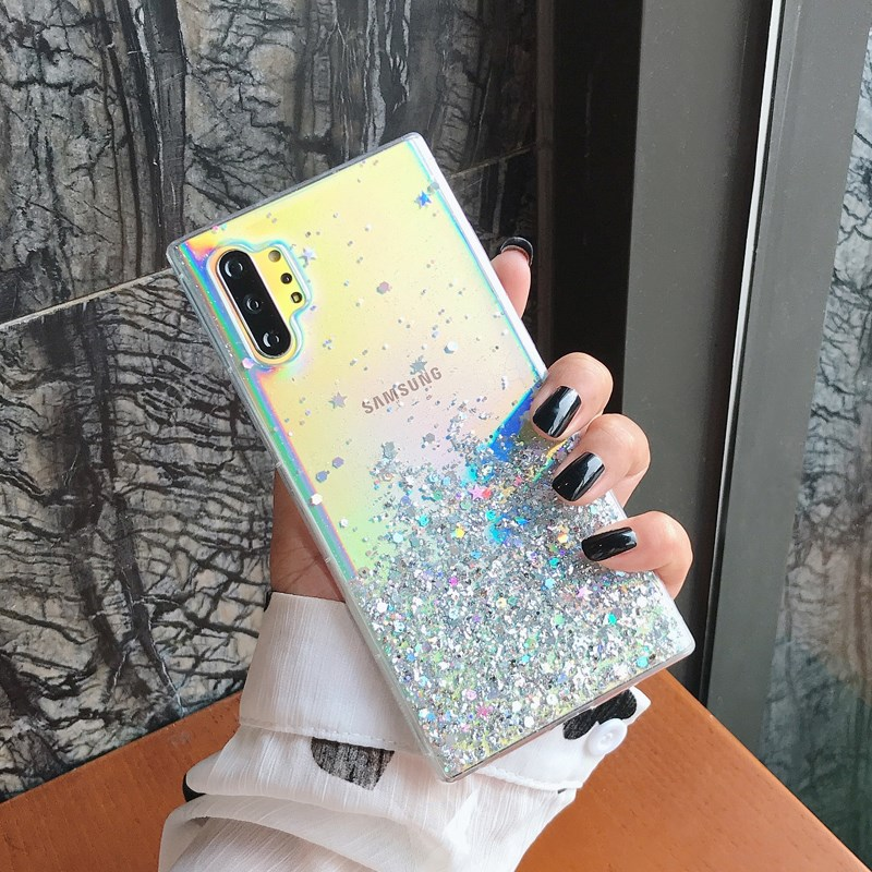 Fashion Glitter Star Shockproof Transparent Slicone Phone Case For Samsung Note 8 9 10 S8 S9 S10 PLUS Powder Soft TPU Back Cover