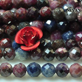 ONEVAN Natural Ruby Sapphire Faceted Stone 4mm Smooth Loose Round Beads Diy Bracelet Necklace Jewelry Making Beaded Gift Design onevan natural yellow jade faceted beads 6mm 8mm smooth loose round stone diy bracelet necklace jewelry making gift design