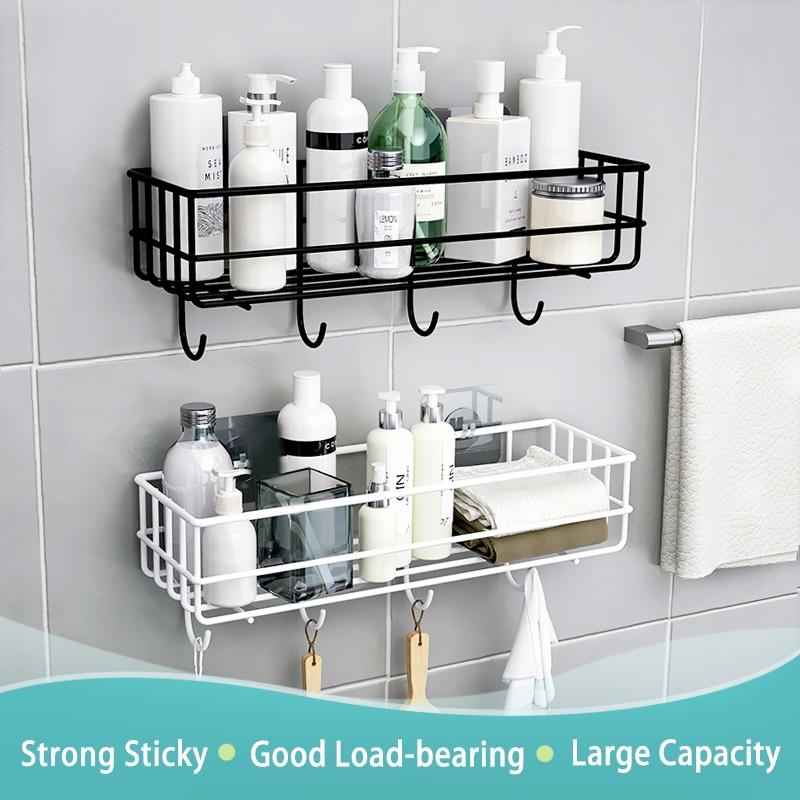 Wall Mounted Bathroom Shelves Floating Shelf Shower Hanging Basket Shampoo Holder WC Accessories Kitchen Seasoning Storage Rack