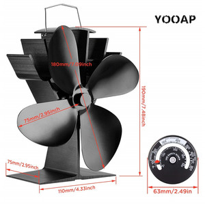 Image 4 - Fireplace fan Tools Set, Heat Powered 4 Blade Stove Fan and Fireplace Thermometer, Silent Operation, ECO Fan for Stove