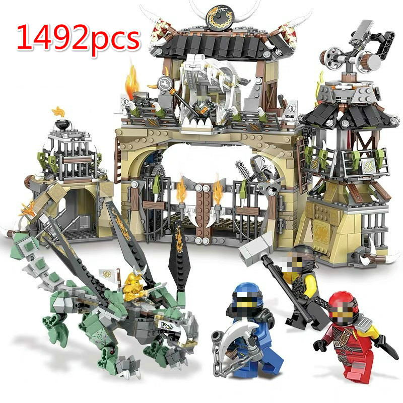 1492pcs Ninjagoe Series Heavy <font><b>Dragon</b></font> Base Camp <font><b>Castle</b></font> Building Blocks Compatible <font><b>Legoinglys</b></font> Ninja DIY Bricks Toys for Kids image