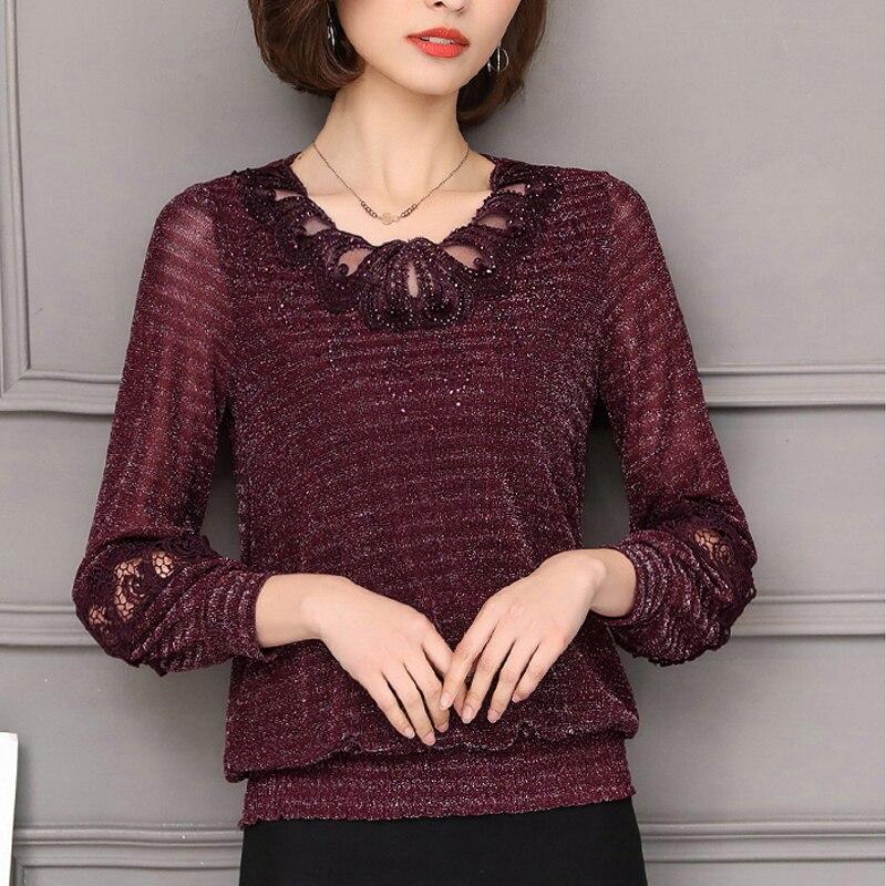 New 2020 Mesh Plus Size Women Clothing Lace Shirt Tops Hollow Out Basic Female Elegant Long-sleeve Lace Blouses Shirts 5XL 952F
