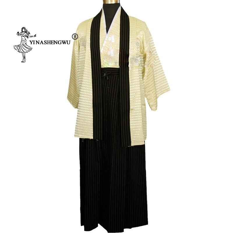 Japan Ancient Costumes Japanese Samurai Costume Stage Costumes Yukata Men Japanese Kimono Traditional Dress Sets Kimono Cosplay